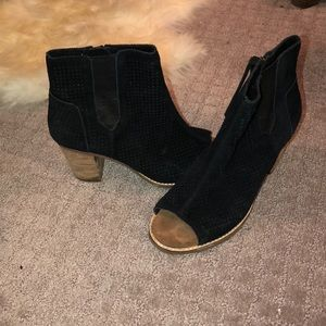 Toms, opened toed booties, black suede